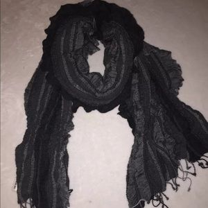 Charter Club Accessories - Charter Club By Macy's Grey Ruched Striped Scarf